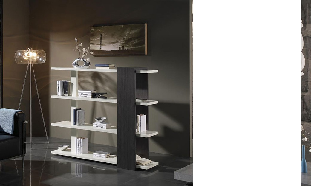 meuble bibliotheque contemporaine de separation marty coloris wenge et blanc laque. Black Bedroom Furniture Sets. Home Design Ideas