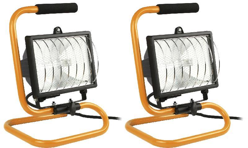 Lot de 2 projecteurs halogènes 400w jaune chantier - ip44 nf