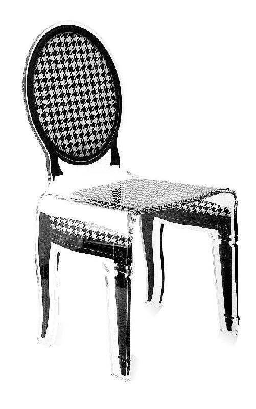 sixteen chaise acrila en plexi pied de poule. Black Bedroom Furniture Sets. Home Design Ideas