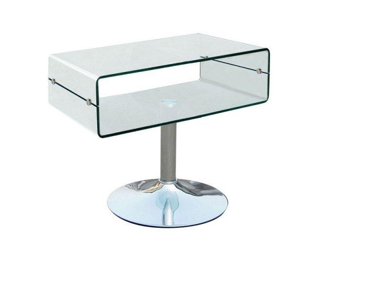 Wave meuble tv tele design verre trempe pietement metal for Meuble tele en verre