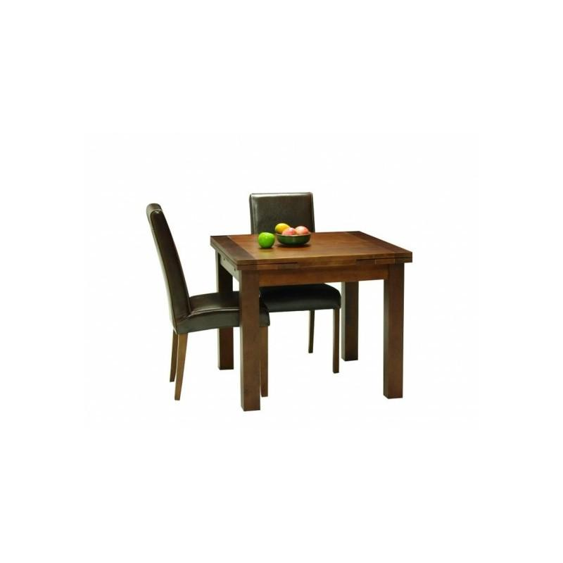 Table de salle a manger carree en bois extensible cafe lina 90 for Table 90 extensible