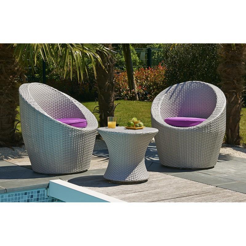 Salon de jardin 3 pi ces empilables gris clair comparer - Salon jardin empilable ...