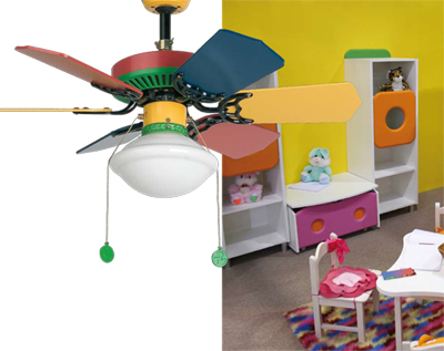 ventilateur de plafond avec lampe pour chambres d 39 enfants. Black Bedroom Furniture Sets. Home Design Ideas