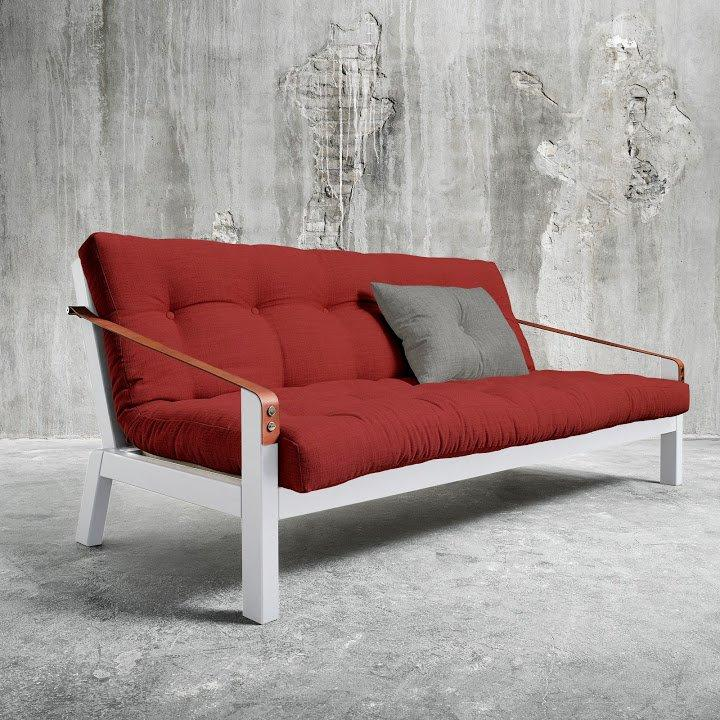 Canape Blanc 3 4 Places Convertible Poetry Futon Rouge Passion