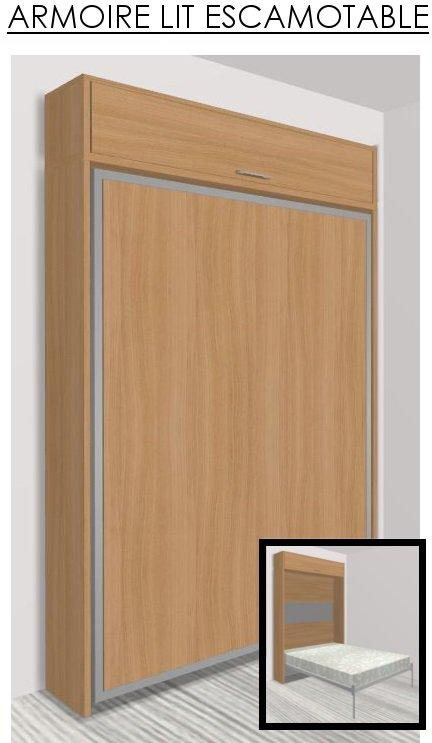 armoire lit escamotable eos cerisier couchage 140 22. Black Bedroom Furniture Sets. Home Design Ideas