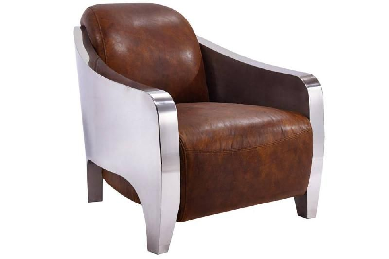 fauteuil new club prestige en cuir marron vieilli vintage et chrom comparer les prix de. Black Bedroom Furniture Sets. Home Design Ideas