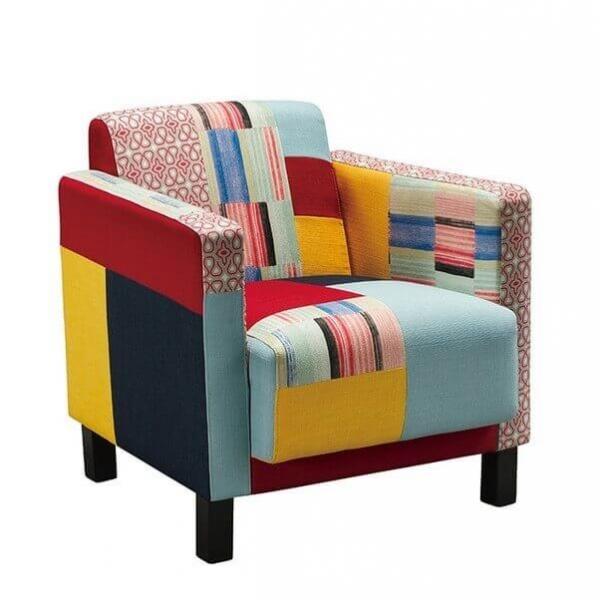 fauteuil patchwork tissus cubik. Black Bedroom Furniture Sets. Home Design Ideas