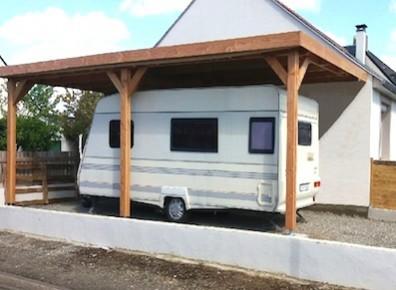 Abri camping-car ouvert caravane / structure en bois / toiture plate / 3.11 x 3.20 m