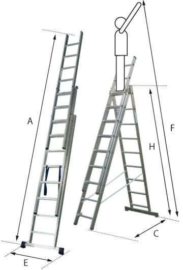 Echelle coulissante a mains aluminium 3 plans type cm3 ce043944a10c