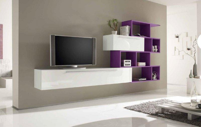 Meuble tv design primera shelf blanc brillant et lilas - Meuble tele design roche bobois ...