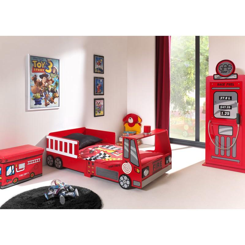 Pack - lit enfant pompier & armoire 1 porte pompe à essence rouge
