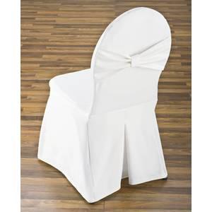 Housse Avec Noeud Pour Chaise De Banquet A Dossier Arrondi Materiau 100 Polyester Blanc