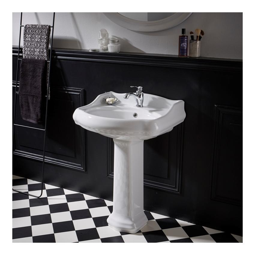 lavabo colonne r tro 60 cm en c ramique blanc planetebain comparer les prix de lavabo colonne. Black Bedroom Furniture Sets. Home Design Ideas