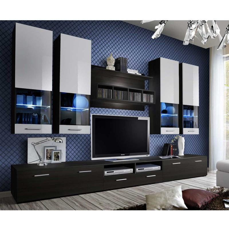 MEUBLE TV MURAL DESIGN DORADE 300CM WENGÉ & BLANC - PARIS PRIX