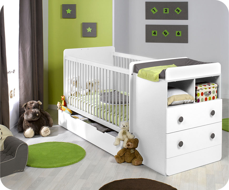 berceau evolutif malte blanc avec matelas bebe. Black Bedroom Furniture Sets. Home Design Ideas