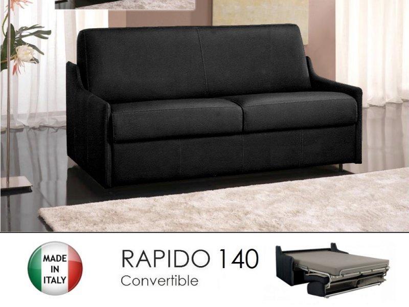 canape lit 3 places luna convertible ouverture rapido 140cm microfibre noir. Black Bedroom Furniture Sets. Home Design Ideas