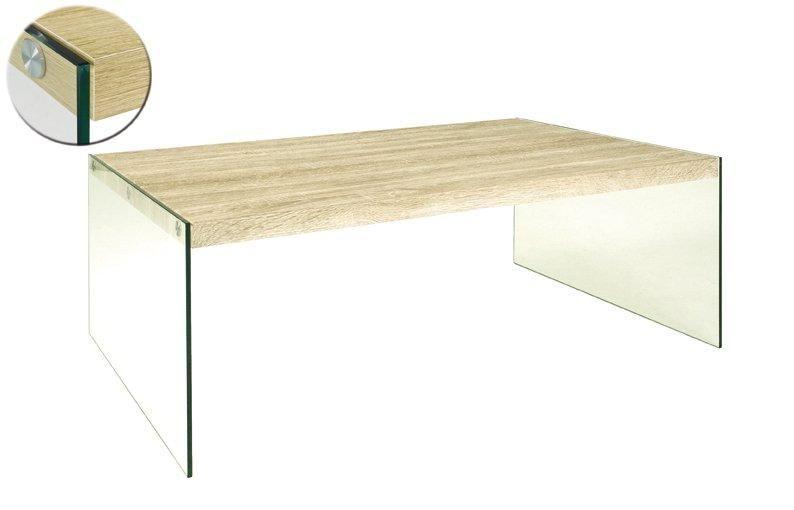 Table basse nina 110 x 70 cm en verre et ch ne clair comparer les prix de tab - Table basse en chene clair ...