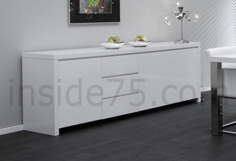 buffet design laque blanc 3 portes 3 tiroirs. Black Bedroom Furniture Sets. Home Design Ideas