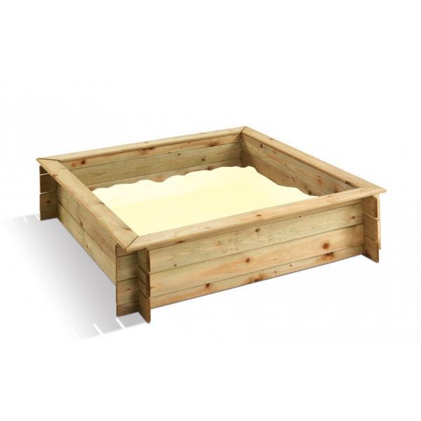 Bac sable en bois carr avec couverture burger - Bac a sable pour piscine ...