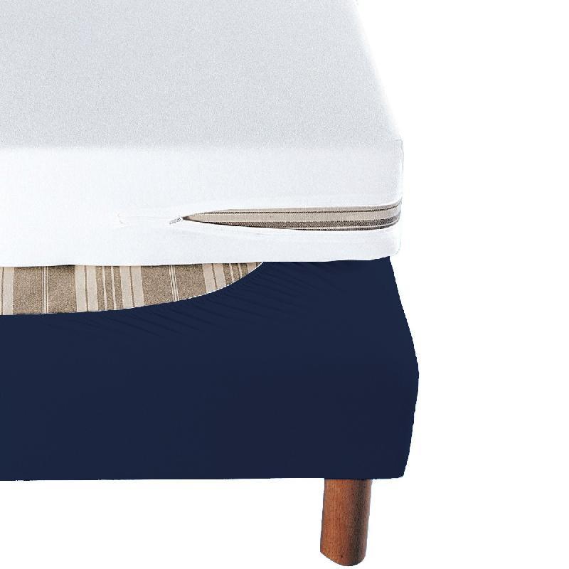 cache sommier bleu marine bande enveloppante 160x200. Black Bedroom Furniture Sets. Home Design Ideas