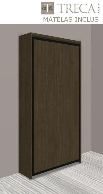 armoire lit escamotable cronos chene moka matelas treca inclus couchage 90 22 200 cm. Black Bedroom Furniture Sets. Home Design Ideas