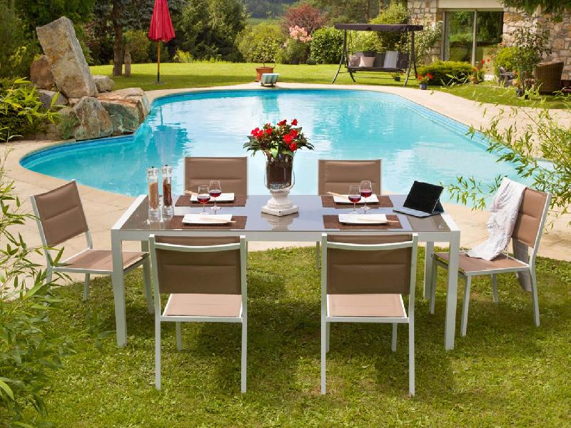 Emejing table de jardin honfleur aluminium images amazing house design Table de jardin aluminium blanche