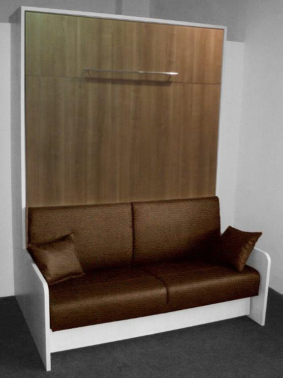 armoire lit space sofa blanche facade chene de fil canape marron couchage 140 20 200 cm. Black Bedroom Furniture Sets. Home Design Ideas