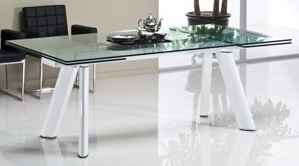 table de repas feeling blanc transparent extensible jusqu 39 a 12 couverts. Black Bedroom Furniture Sets. Home Design Ideas