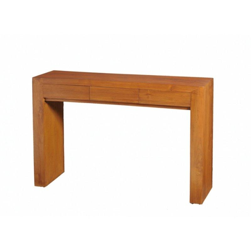 en teck massif style 3 tiroirs moderne Console colonial yYb7fgv6