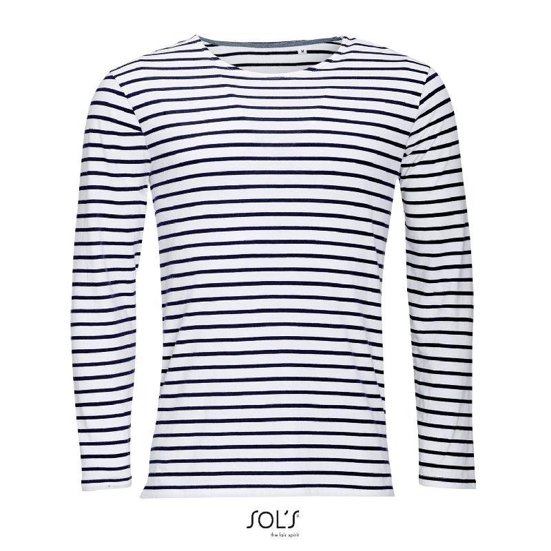 Tee-shirt homme manches longues rayé marine men - référence : r1m9vq