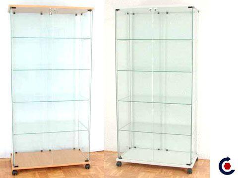 Vitrine d'exposition tablette réglable en verre
