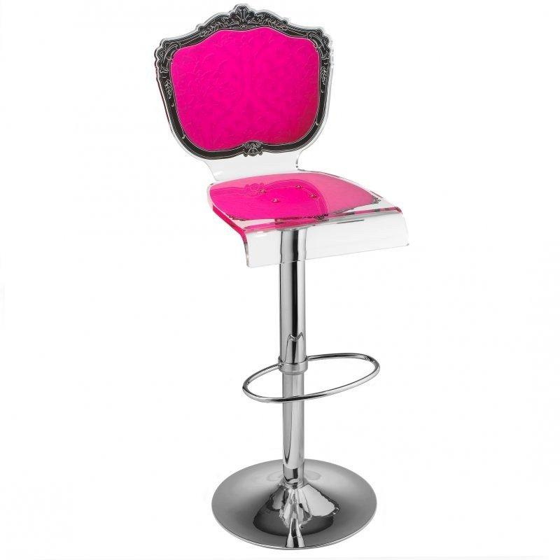 Tabouret Chaise De Bar Baroque Rose Plexiglass Acrila