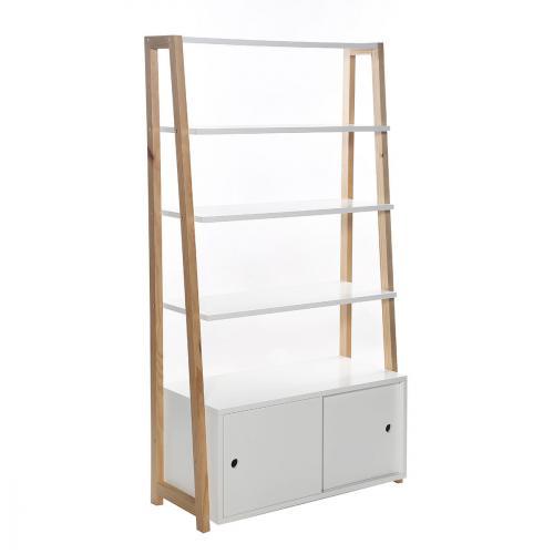 Meuble bibliothèque générique etagère 4 tablettes stan 86 x 160 cm blanc / bois
