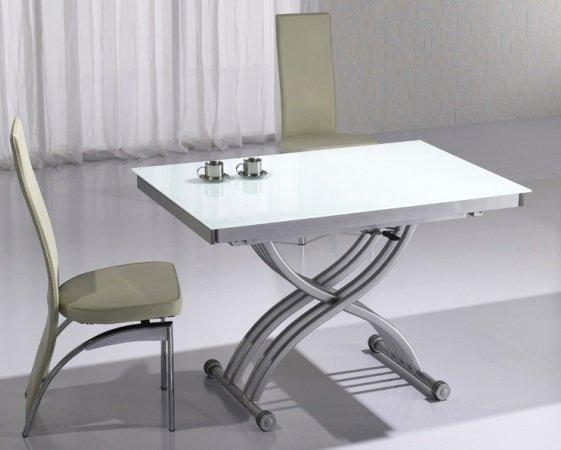 table basse form relevable extensible plateau en verre extra blanc. Black Bedroom Furniture Sets. Home Design Ideas