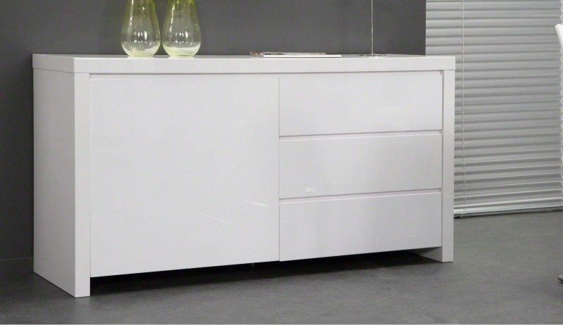 Buffet design laque blanc 1 porte 3 tiroirs for But buffet de salle a manger