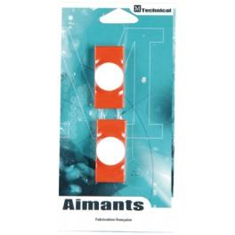 PLOTS MAGNETIQUES-AIMANTS BUSINESS 23 X 55 MM BLISTER DE 2 ORANGE