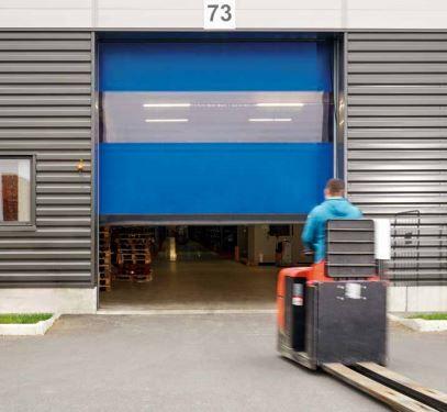 Porte rapide 6020 TRL / souple / à enroulement / en plastique / utilisation extérieure / 7000 x 6000 mm