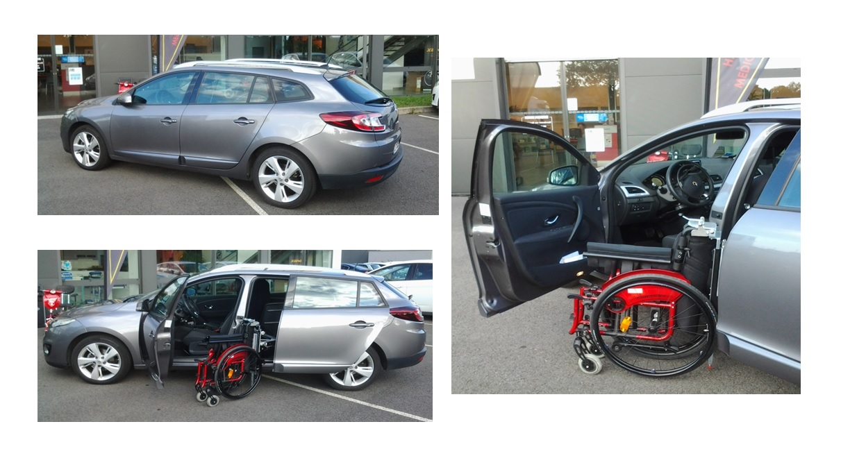 Véhicules pour handicapés renault megane estate + cercle accelerateur/frein + robot chargeur edag