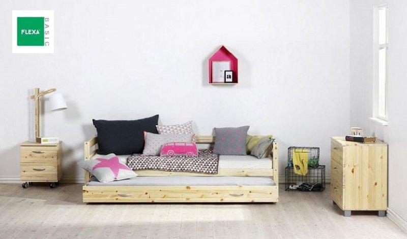 lit gigogne flexa en pin vernis naturel couchage 90 x 200. Black Bedroom Furniture Sets. Home Design Ideas