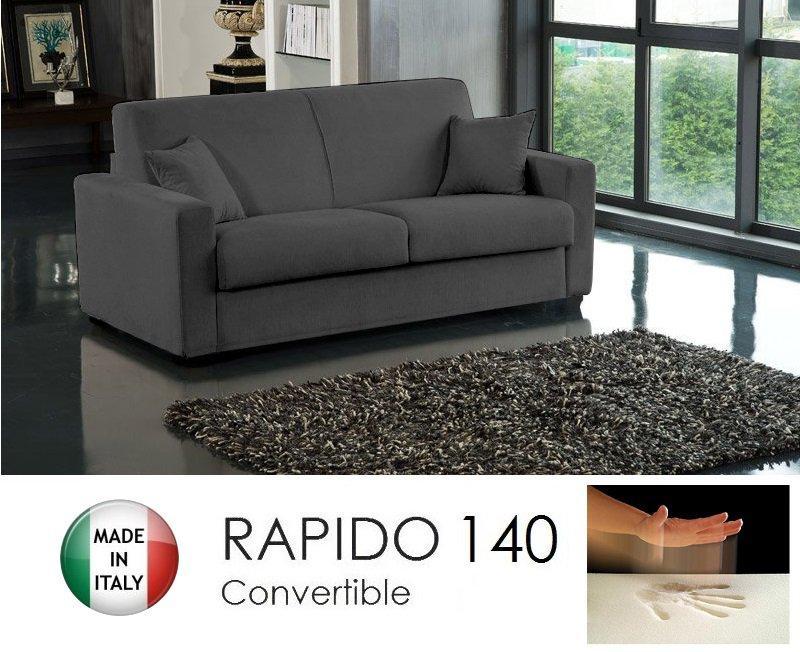 Canape convertible rapido 140cm dreamer tissu microfibre gris graphite matel - Canape tissu microfibre ...