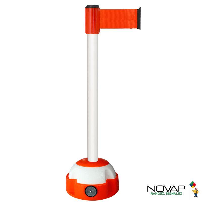 Poteau Alu Blanc laqué à sangle Orange fluo 3m x 100mm sur socle Balise - 2700368