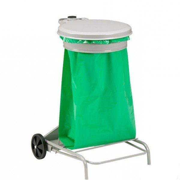 support sac poubelle a pedale epoxy blanc 110l 601042. Black Bedroom Furniture Sets. Home Design Ideas