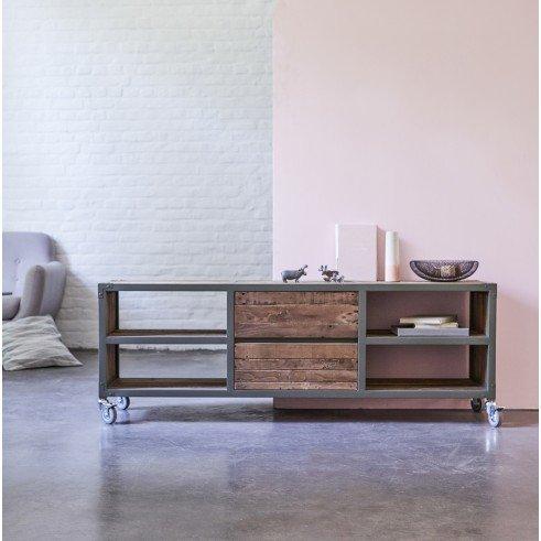 Meuble tv en bois recycles et metal 160 atelier kaki for Meuble tv style atelier