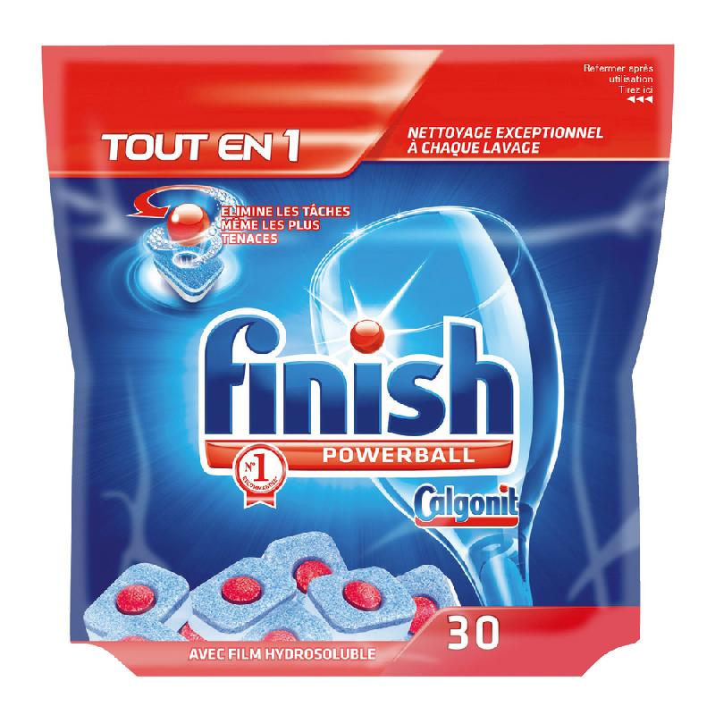 TABLETTES DE LAVAGE LAVE-VAISSELLE CYCLE LONG FINISH CALGONIT POWERBALL TOUT EN 1, 30 TABLETTES