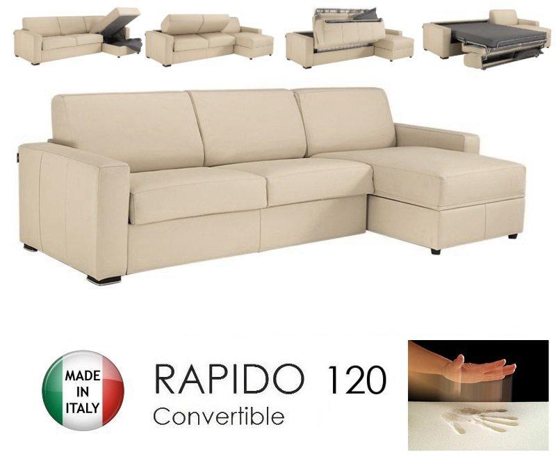 canape d 39 angle dreamer rapido 120cm cuir vachette beige matelas memoire de forme. Black Bedroom Furniture Sets. Home Design Ideas