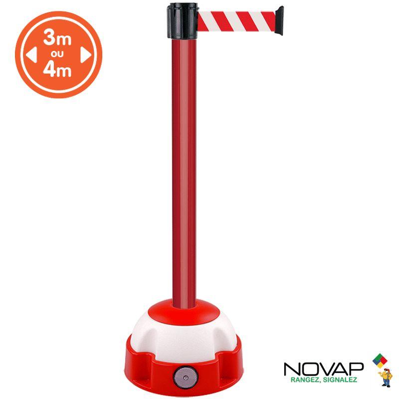 Poteau alu rouge à sangle Rouge/Blanc sur socle balise - Novap