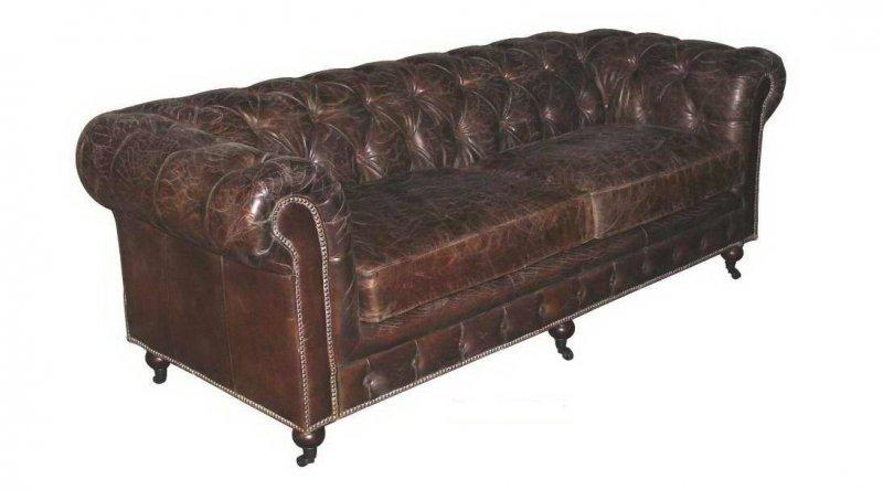 canape chesterfield prestige 3 places en cuir marron vieilli. Black Bedroom Furniture Sets. Home Design Ideas