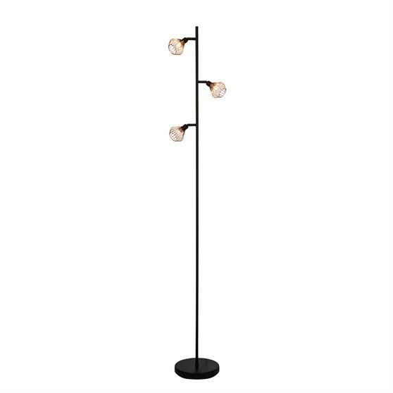 dalma lampadaire 3 lumi res orientables noir et cuivre h165 5cm lampadaire brilliant design. Black Bedroom Furniture Sets. Home Design Ideas