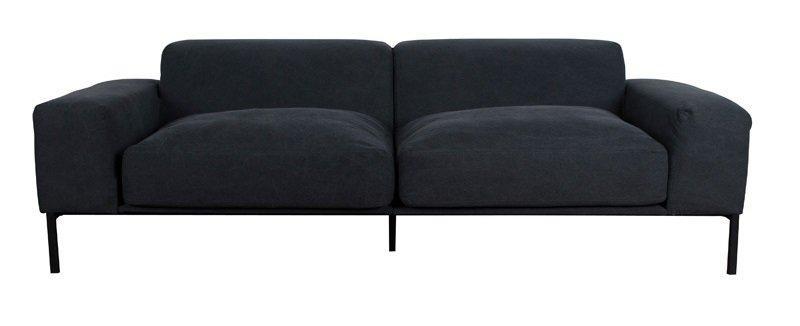 canape additional 3 places tissu noir vintage. Black Bedroom Furniture Sets. Home Design Ideas
