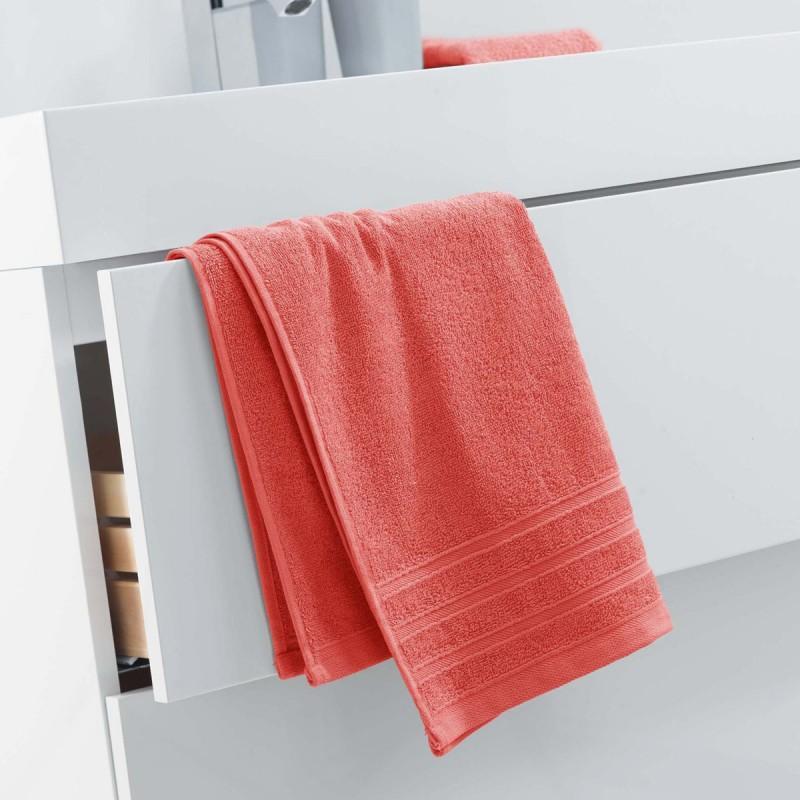 Serviette de toilette vitamine 50x90cm corail - paris prix